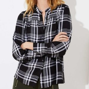 LOFT Top XXL Black White Plaid Button Up